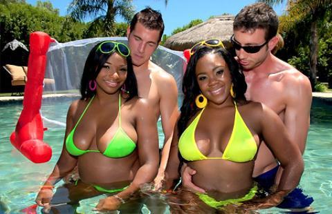 Big booty ebony group sex