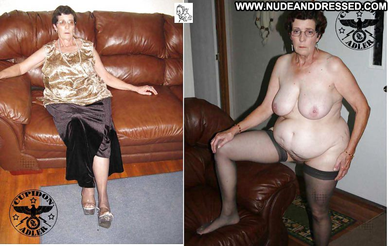 Old big breasted grandmother takes off her white panties 10